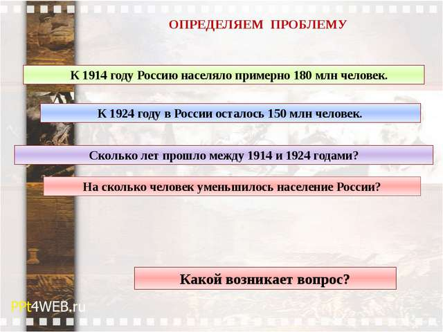 ОПРЕДЕЛЯЕМ ПРОБЛЕМУ Какой возникает вопрос? К 1914 году Россию населяло приме...