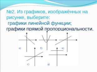 №2. Из графиков, изображённых на рисунке, выберите: графики линейной функции;