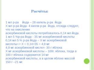 Расчёты: 1 мл р-ра йода – 28 капель р-ра йода Х мл р-ра йода- 4 капли р-ра й