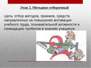 Этап 2. Методико-отборочный Цель: отбор методов, приемов, средств, направленн