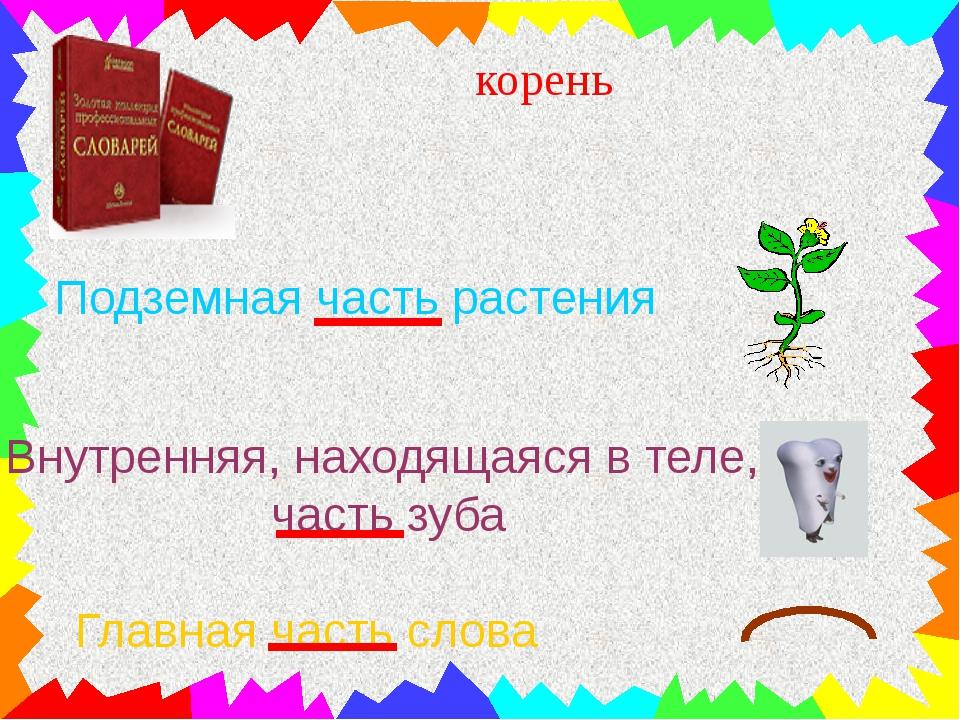 корень Подземная часть растения Внутренняя, находящаяся в теле, часть зуба Г...