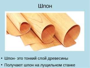 Шпон Шпон- это тонкий слой древесины Получают шпон на лущильном станке