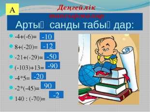 Артық санды табыңдар: -4+(-6)= 8+(-20)= -21+(-29)= (-103)+13= -4*5= -2*(-45)=