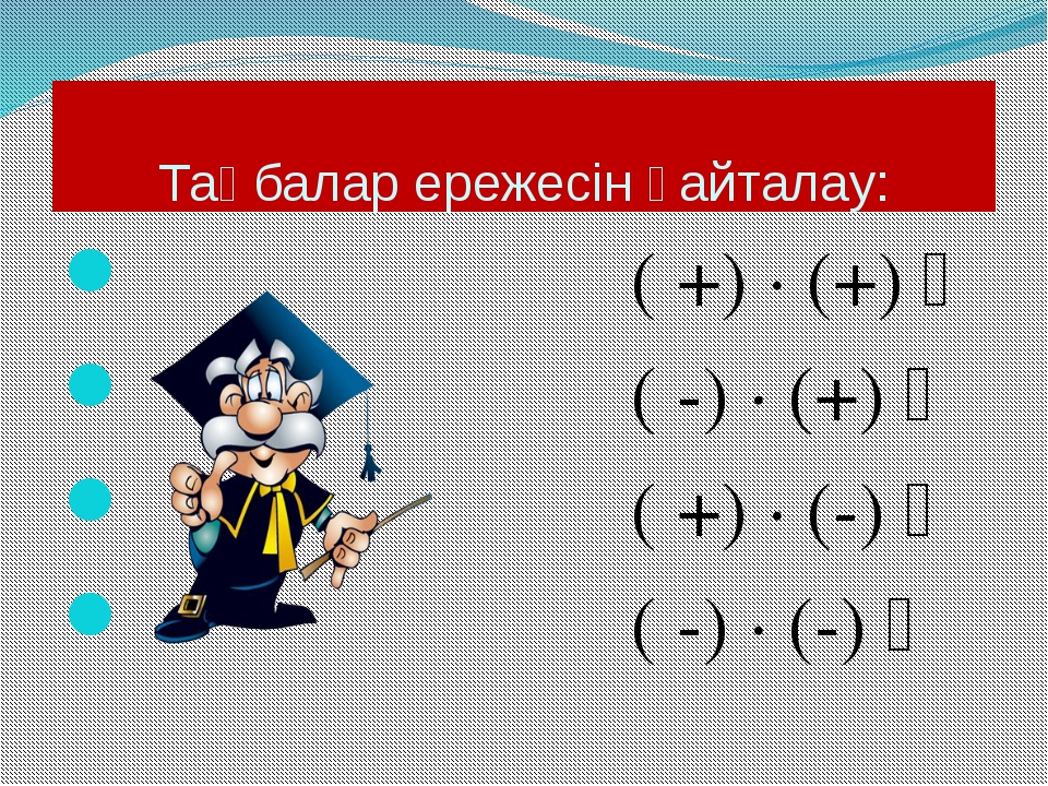 Таңбалар ережесін қайталау: ( +) · (+) ꞊ ( -) · (+) ꞊ ( +) · (-) ꞊ ( -) · (-) ꞊