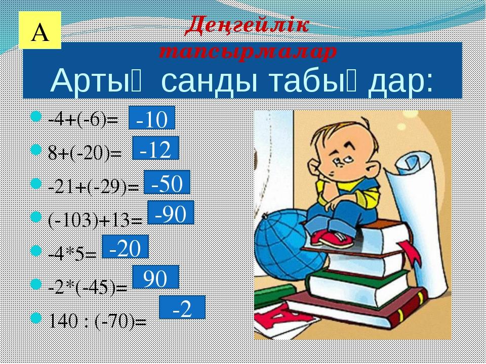 Артық санды табыңдар: -4+(-6)= 8+(-20)= -21+(-29)= (-103)+13= -4*5= -2*(-45)=...