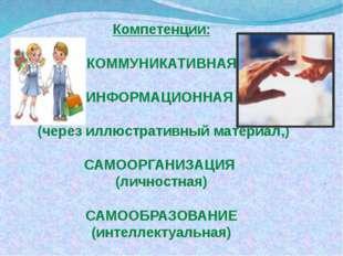 Компетенции: КОММУНИКАТИВНАЯ ИНФОРМАЦИОННАЯ (через иллюстративный материал,)