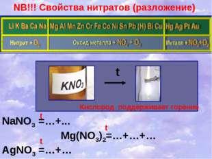 NB!!! Свойства нитратов (разложение) t Кислород поддерживает горение NaNO3 =…