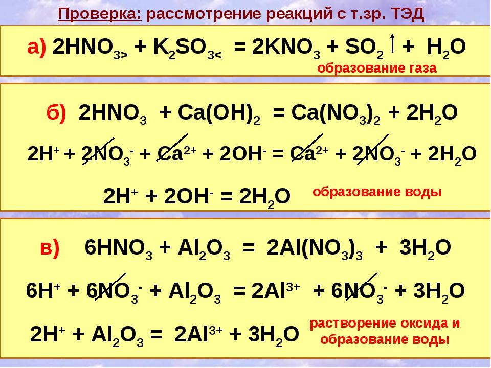 Проверка: рассмотрение реакций с т.зр. ТЭД б) 2HNO3 + Ca(OH)2 = Ca(NO3)2 + 2H...