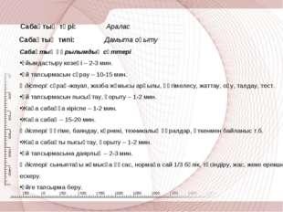 Сабақтың түрі: Аралас Сабақтың типі: Дамыта оқыту Сабақтың құрылымдық сәттері