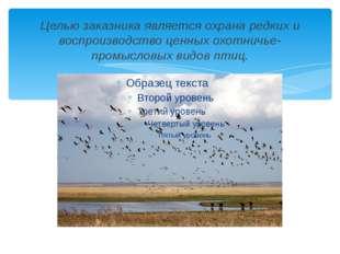 Целью заказника является охрана редких и воспроизводство ценных охотничье-про