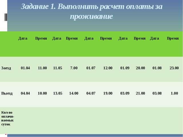 Задание 1. Выполнить расчет оплаты за проживание Дата Время Дата Время Дата В...