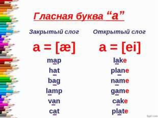 """Гласная буква """"a"""" Закрытый слог a = [æ] map hat bag lamp van cat Открытый сло"""