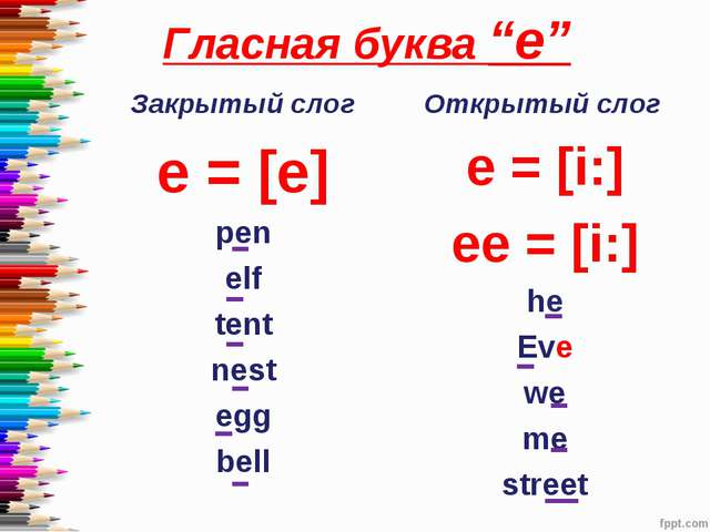 "Гласная буква ""e"" Закрытый слог e = [e] pen elf tent nest egg bell Открытый с..."