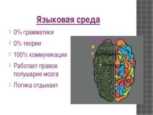 Языковая среда 0% грамматики 0% теории 100% коммуникации Работает правое полу