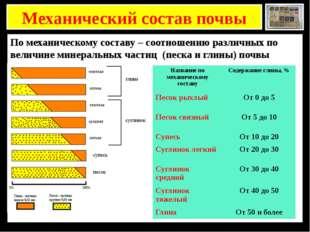 Механический состав почвы По механическому составу – соотношению различных п