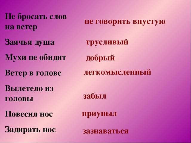 Не бросать слов на ветер Заячья душа Мухи не обидит Ветер в голове Вылетело и...