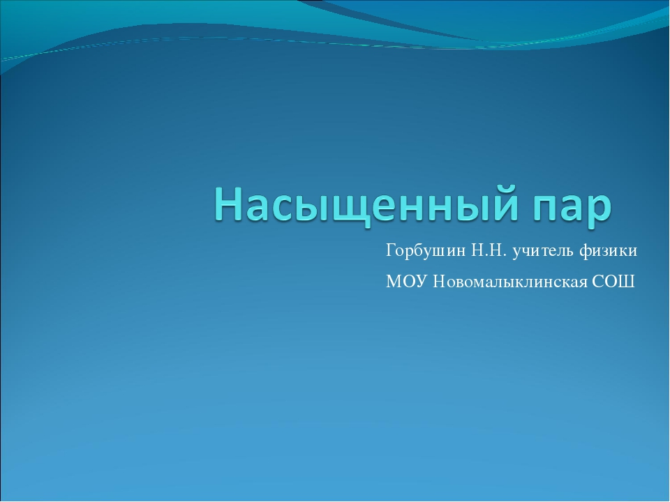 Горбушин Н.Н. учитель физики МОУ Новомалыклинская СОШ