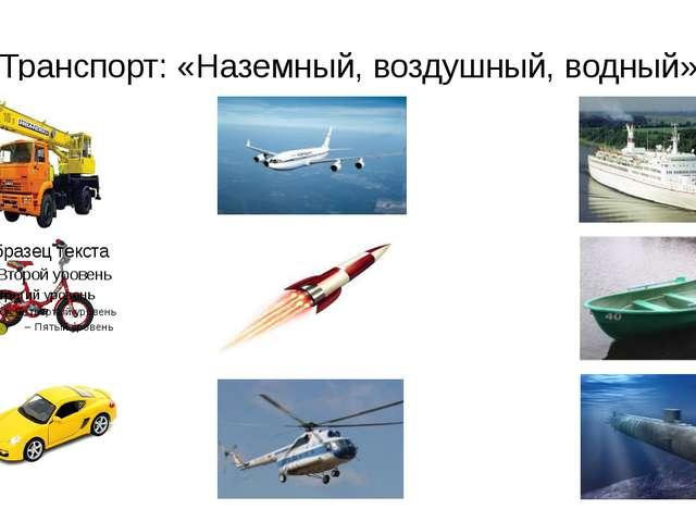 Транспорт: «Наземный, воздушный, водный»