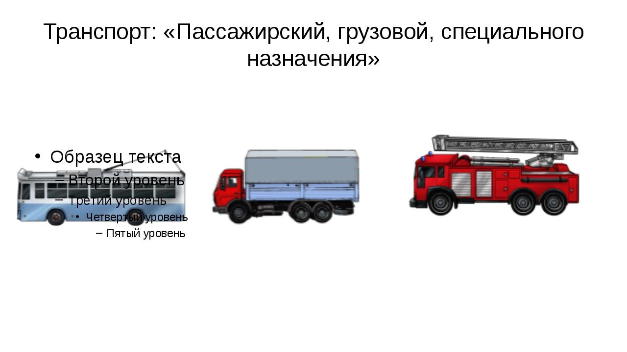 Транспорт: «Пассажирский, грузовой, специального назначения»