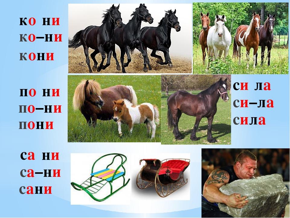 ко ни ко–ни кони по ни по–ни пони са ни са–ни сани си ла си–ла сила