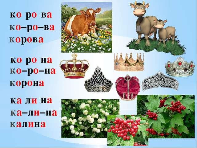ко ро ва ко–ро–ва корова ко ро на ко–ро–на корона ка ли на ка–ли–на калина