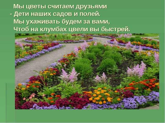 Мы цветы считаем друзьями - Дети наших садов и полей. Мы ухаживать будем за...