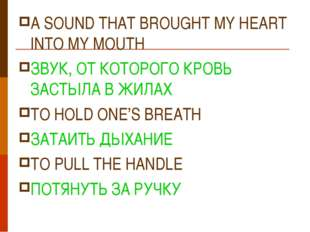 A SOUND THAT BROUGHT MY HEART INTO MY MOUTH ЗВУК, ОТ КОТОРОГО КРОВЬ ЗАСТЫЛА В