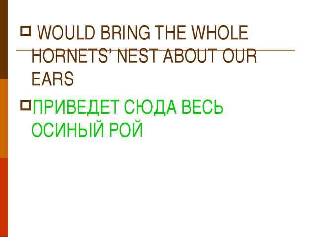 WOULD BRING THE WHOLE HORNETS' NEST ABOUT OUR EARS ПРИВЕДЕТ СЮДА ВЕСЬ ОСИНЫЙ...
