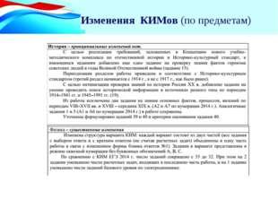 Два уровня по математике Изменения КИМов (по предметам)