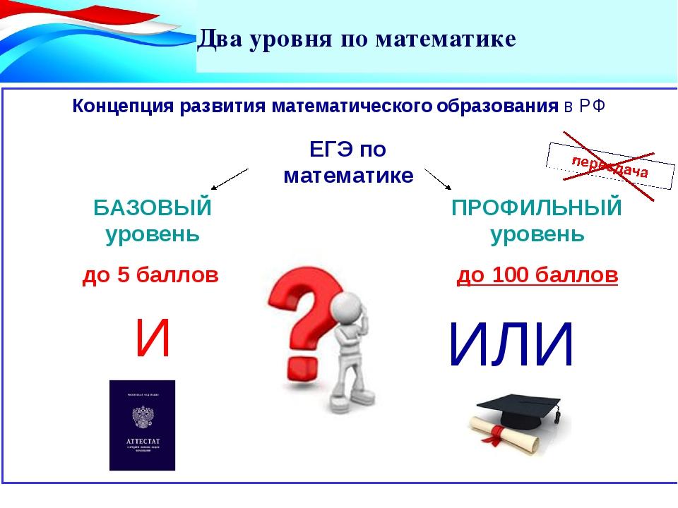 Два уровня по математике Концепция развития математического образования в РФ...