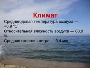 Климат Среднегодовая температура воздуха — +0,9 °C Относительная влажность во