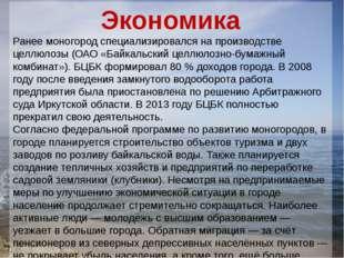 Экономика Ранее моногород специализировался на производстве целлюлозы (ОАО «Б
