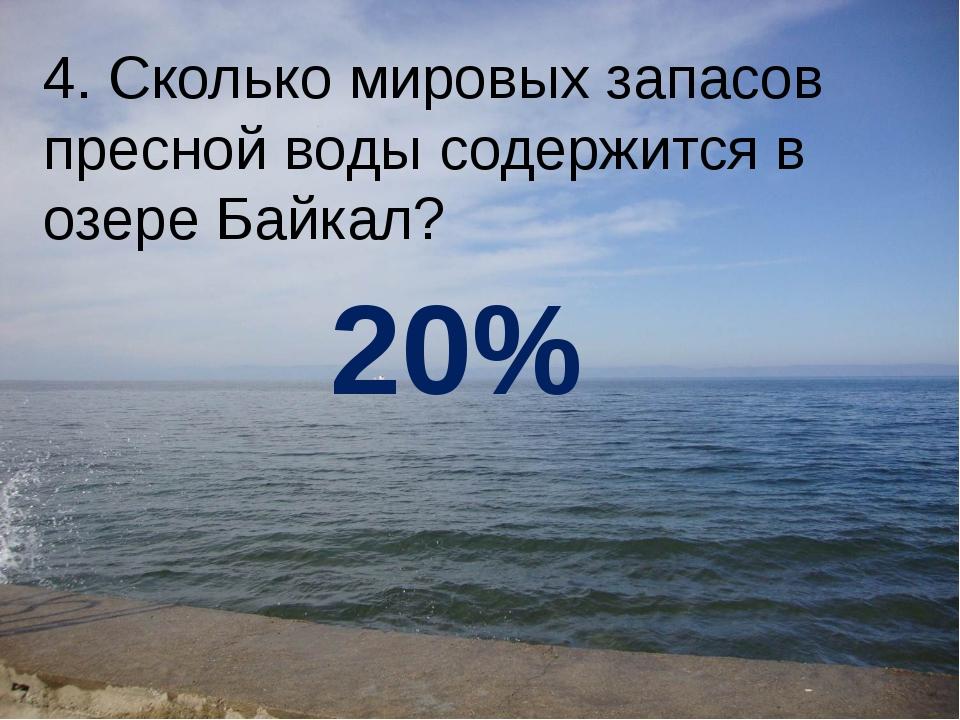 4. Сколько мировых запасов пресной воды содержится в озере Байкал? 20%