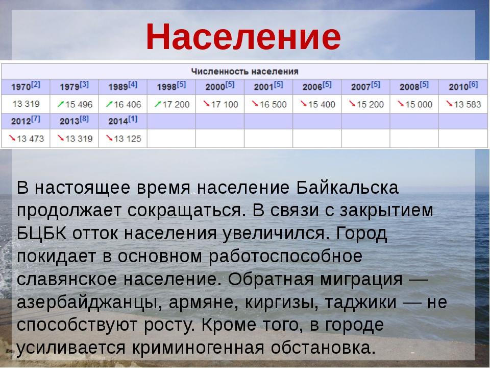 Население   В настоящее время население Байкальска продолжает сокращать...