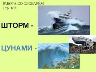 ЦУНАМИ - ШТОРМ - РАБОТА СО СЛОВАРЁМ Стр. 182
