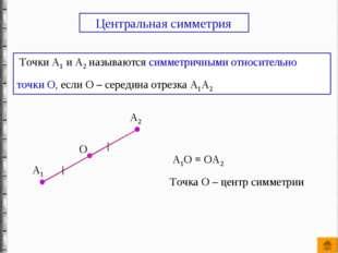Точки А1 и А2 называются симметричными относительно точки О, если О – середи