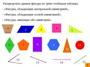 Распределите данные фигуры по трём столбикам таблицы: «Фигуры, обладающие це
