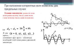 При наложении когерентных волн возможны два предельных случая: Условие максим