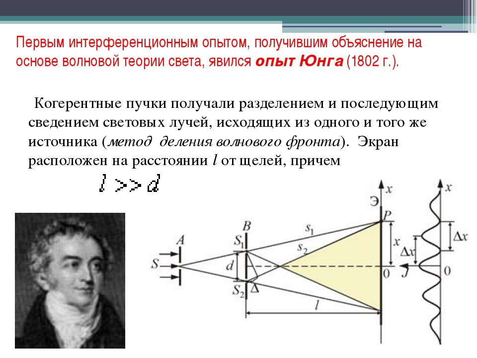 Первым интерференционным опытом, получившим объяснение на основе волновой тео...