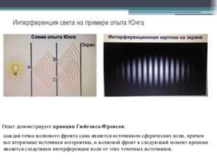 Интерференция света на примере опыта Юнга Опыт демонстрируетпринцип Гюйгенса