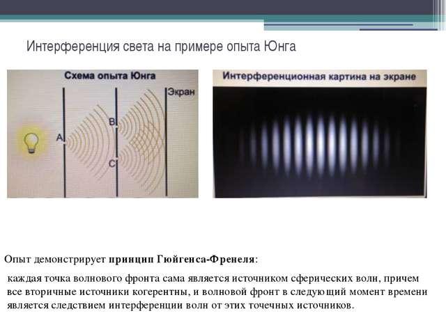 Интерференция света на примере опыта Юнга Опыт демонстрируетпринцип Гюйгенса...
