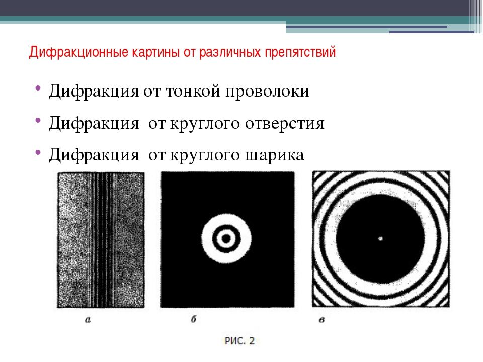 Дифракционные картины от различных препятствий Дифракция от тонкой проволоки...