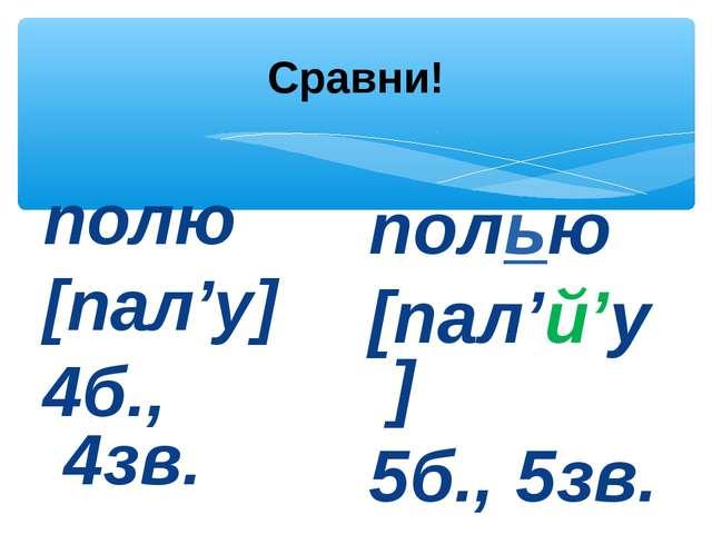 Сравни! полю [пал'у] 4б., 4зв. полью [пал'й'у] 5б., 5зв.
