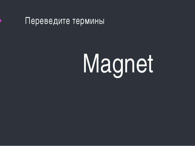 Переведите термины Magnet