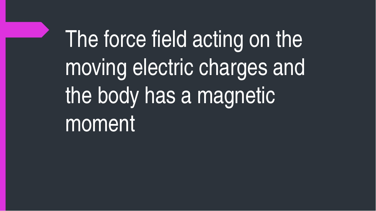 The force field acting on the moving electric charges and the body has a magn...