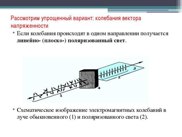 Рассмотрим упрощенный вариант: колебания вектора напряженности Если колебания...