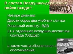 В состав Воздушно-десантных войск входят: Четыре дивизии Двести сорок два уче