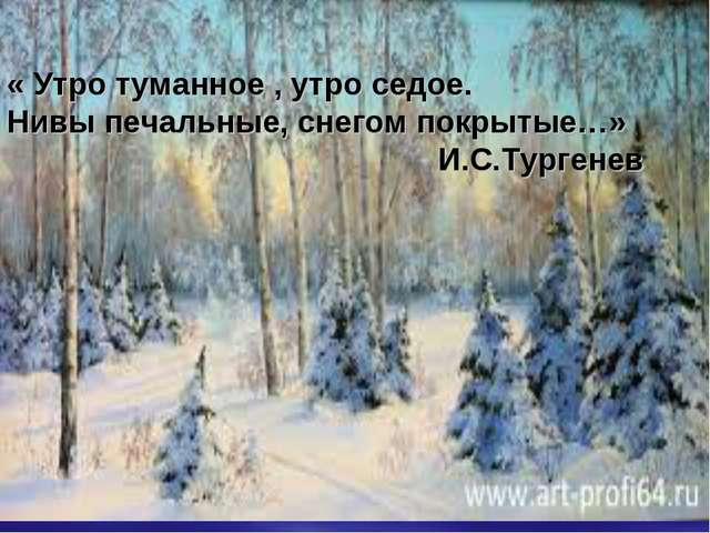 « Утро туманное , утро седое. Нивы печальные, снегом покрытые…» И.С.Тургенев