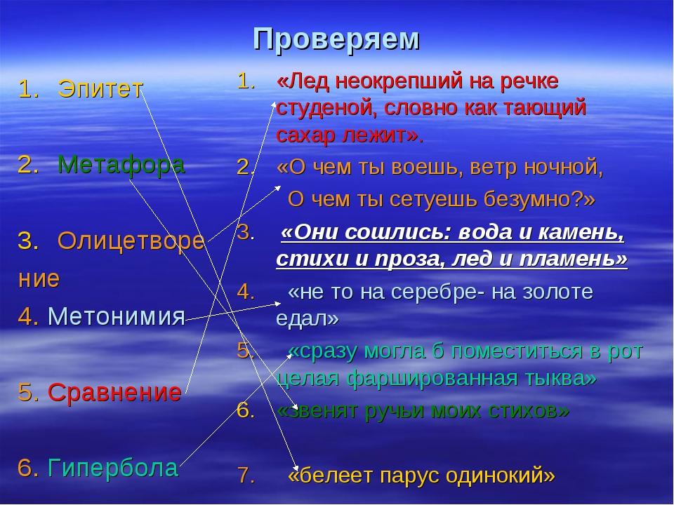 Проверяем Эпитет Метафора Олицетворе ние 4. Метонимия 5. Сравнение 6. Гипербо...