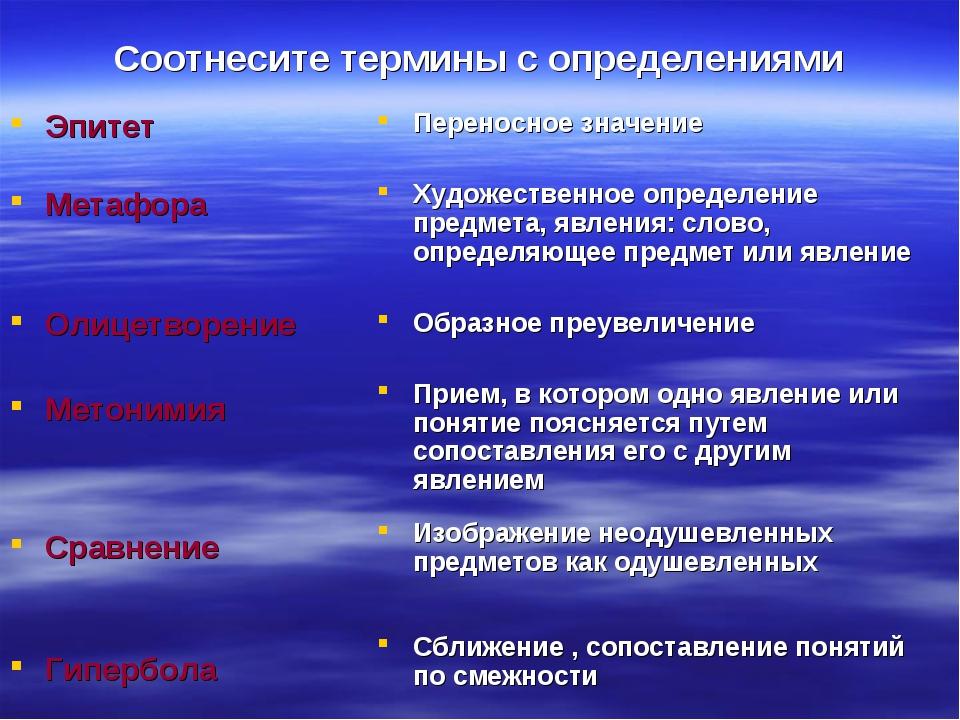 Соотнесите термины с определениями Эпитет Метафора Олицетворение Метонимия Ср...